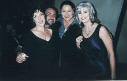 Beth Neilson Chapman, Rique, Camryn Manheim and Emmylou Harris at Women Who Rock Breast Cancer Concert 2001 Los Angeles